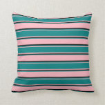 [ Thumbnail: Light Pink, Teal & Black Colored Stripes Pillow ]