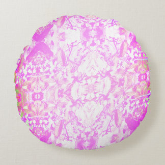 Light Pink Vines and Berries Round Pillow