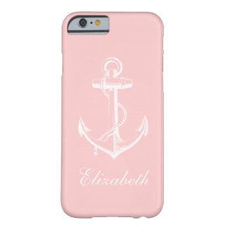 Light Pink Vintage Anchor Custom Monogram Barely There iPhone 6 Case