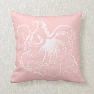 Light Pink Vintage Octopus & Nautical Stripes Throw Pillows