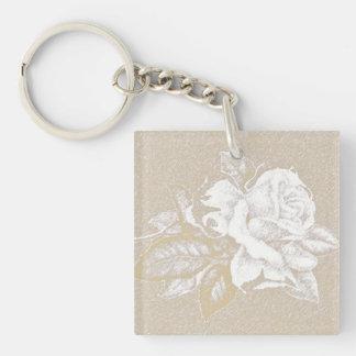 Light pink vintage rose in sepia tones keychain