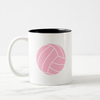 Light Pink Volleyball Two-Tone Coffee Mug