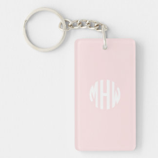 Light Pink White 3 Initials in a Circle Monogram Single-Sided Rectangular Acrylic Keychain