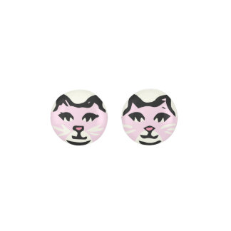 LIGHT PINK & WHITE CAT With White Whiskers Earrings