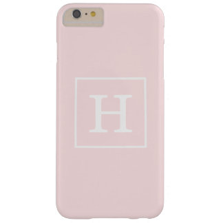 Light Pink White Framed Initial Monogram Barely There iPhone 6 Plus Case