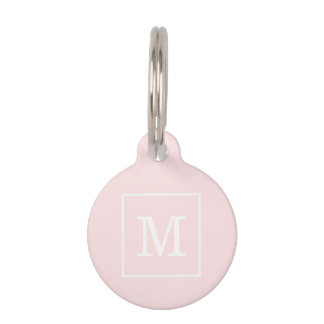 Light Pink White Framed Initial Monogram Pet ID Tags