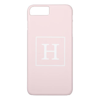 Light Pink White Framed Initial Monogram iPhone 7 Plus Case
