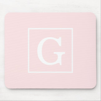 Light Pink White Framed Initial Monogram Mouse Pads