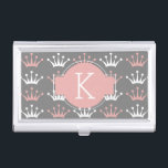 """Light Pink, White, Grey Princess Tiara Pattern Business Card Case<br><div class=""""desc"""">This fancy and delicate pattern is perfect for a princess or a princess at heart. The design features small white and light pink tiara or crown shaped silhouettes. The background color is grey and there is a sleek serif font for your custom text. Add your First Initial for a personal...</div>"""