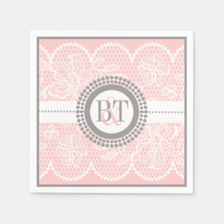 Light pink, white lace pattern wedding napkin