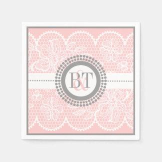 Light pink, white lace pattern wedding disposable napkin