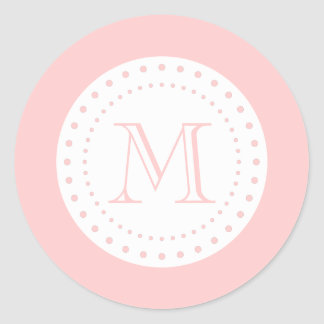 Light Pink White Monogram Sticker