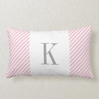 Light Pink White Stripes Grey Monogram Lumbar Pillow