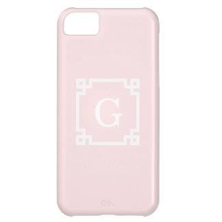 Light Pink Wht Greek Key Frame #2 Initial Monogram Cover For iPhone 5C