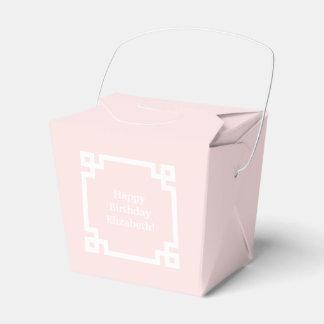 Light Pink Wht Greek Key Frame #2 Initial Monogram Favor Box