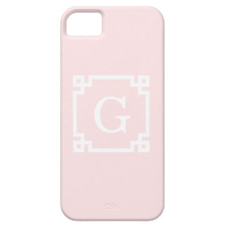 Light Pink Wht Greek Key Frame #2 Initial Monogram iPhone SE/5/5s Case