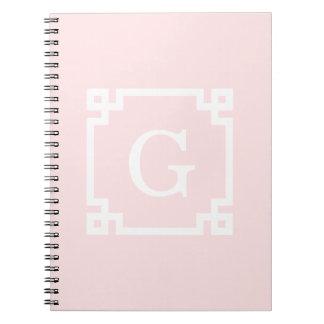 Light Pink Wht Greek Key Frame #2 Initial Monogram Spiral Notebook