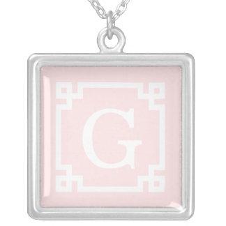 Light Pink Wht Greek Key Frame #2 Initial Monogram Square Pendant Necklace