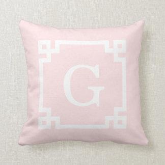 Light Pink Wht Greek Key Frame #2 Initial Monogram Throw Pillow