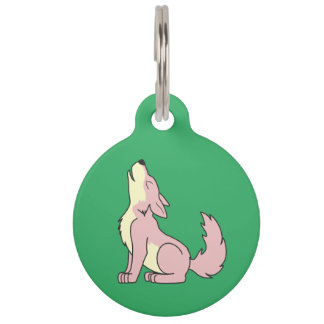 Light Pink Wolf Pup Howling Pet ID Tag