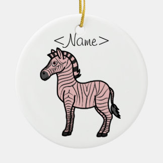 Light Pink Zebra with Black Stripes Ceramic Ornament