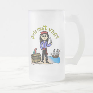 Light Pirate Girl Frosted Glass Beer Mug