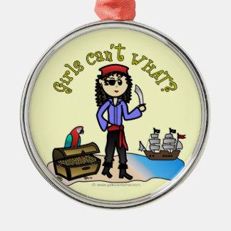 Light Pirate Girl Metal Ornament