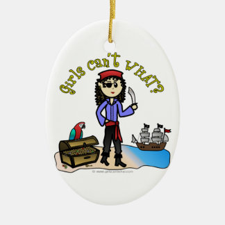 Light Pirate Girl Double-Sided Oval Ceramic Christmas Ornament