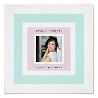 Light Plum and Mint Photo Grad Signature Poster