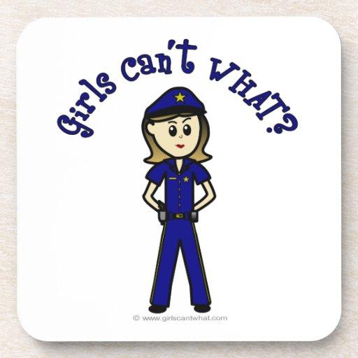 Light Police Officer Girl Coaster