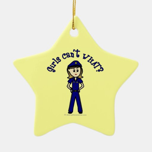 Light Police Officer Girl Double-Sided Star Ceramic Christmas Ornament