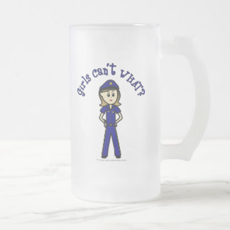 Light Police Officer Girl Frosted Glass Beer Mug