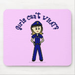 Light Police Officer Girl Mouse Pad
