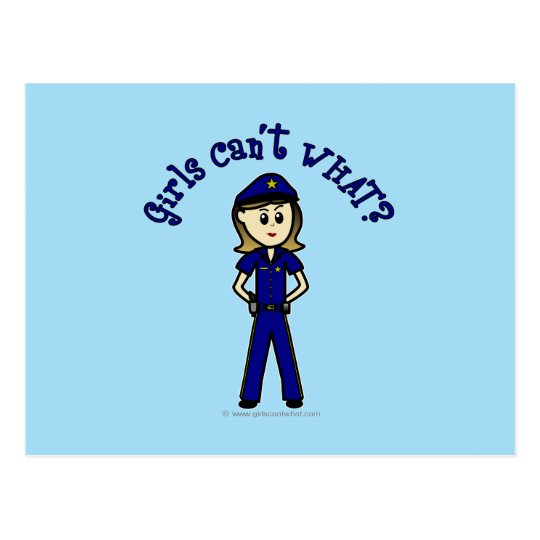 Light Police Officer Girl Postcard