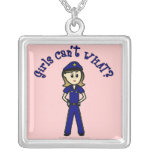 Light Police Officer Girl Square Pendant Necklace