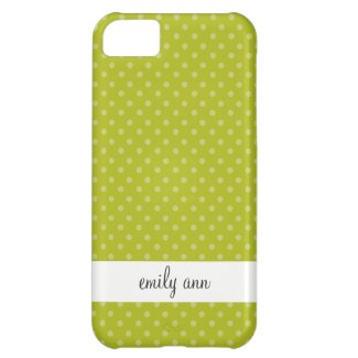 Light Polka Dots on Olive Green Pattern Case For iPhone 5C