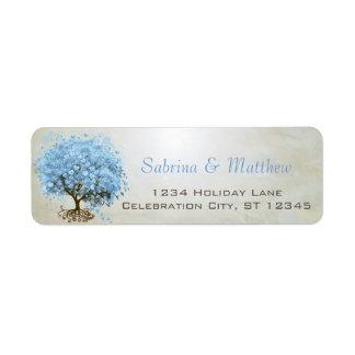 Light Powder Blue Heart Leaf Tree Return Address Custom Return Address Labels