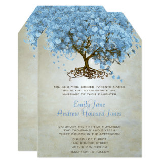 Light Powder Blue Heart Leaf Tree Wedding Invites