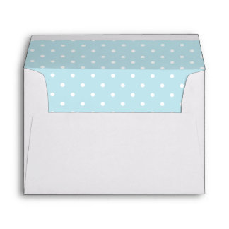 Light Powder Blue White Polka Dot Lined Envelopes