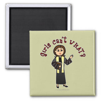 Light Preacher Girl 2 Inch Square Magnet