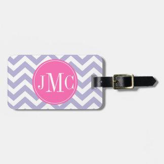 Light purple and pink chevron monogram Luggage Tag