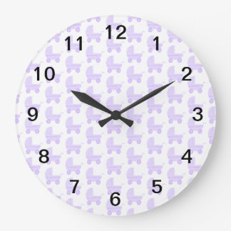 Light Purple and White Baby Stroller Pattern. Large Clock