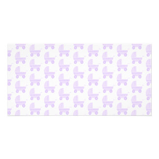 Light Purple and White Baby Stroller Pattern. Photo Card