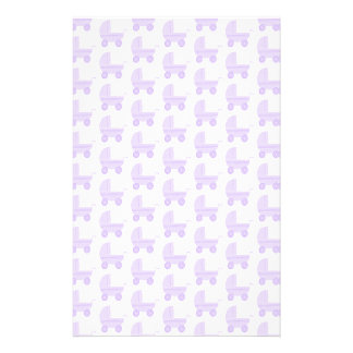 Light Purple and White Baby Stroller Pattern Stationery Design