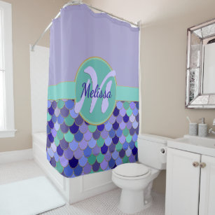 Light Purple Aqua Monogram Name Mermaid Scales Shower Curtain