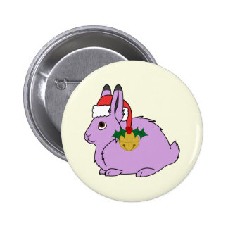 Light Purple Arctic Hare - Santa Hat & Gold Bell Button