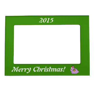 Light Purple Arctic Hare - Santa Hat & Gold Bell Magnetic Photo Frames