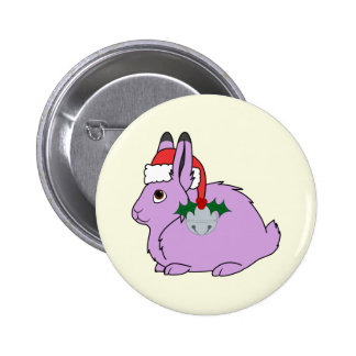 Light Purple Arctic Hare - Santa Hat & Silver Bell Button