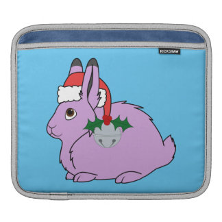 Light Purple Arctic Hare - Santa Hat & Silver Bell Sleeve For iPads