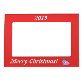 Light Purple Arctic Hare with Green Santa Hat Magnetic Photo Frames